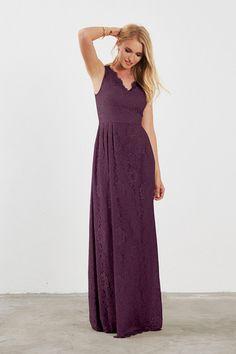 99966bce278 Ada Bridesmaid Dress in Plum in Lace Grey Bridesmaid Dresses