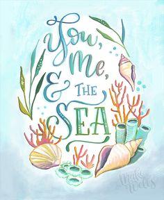 You, Me, and the Sea - Makewells Art Print - Ocean Painting Mermaid Quotes, Mermaid Art, Sea Life Art, Beach Quotes, Ocean Themes, Bullet Journal Inspiration, Illustration Art, Art Illustrations, Hand Painted