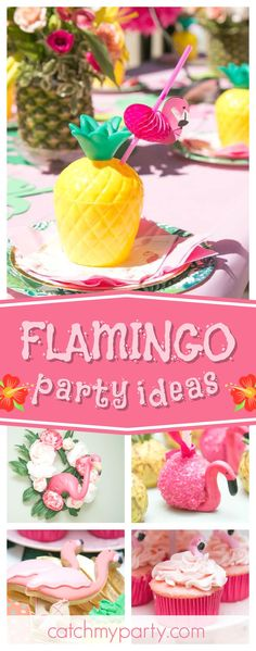 Take a look at this awesome Flamingo birthday party. The flamingo cupcakes are so beautiful!! See more party ideas and share yours at CatchMyParty.com