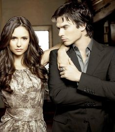 Elena Gilbert and Damon Salvatore... best TV couple ever. They also date in real life. Love them.
