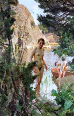 """Painting: Jollen, Oil on Canvas. Artist: Anders Zorn (1860 - 1920) was one of Sweden's foremost artists. He obtained international success as a painter, sculptor and etcher. Painting on Canvas - Image Size 11"""" x 17""""- Canvas Size 14.5"""" x 20.5"""". 