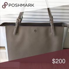 Tory Burch Work Bag Leather 2-tone taupe and silver bag. Tory Burch Bags Laptop Bags
