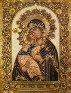 Despite being an atheist, I have always been fascinated with byzantine art. Orthodox Arts Journal - painting, embroidery with beads. Byzantine Icons, Byzantine Art, Religious Icons, Religious Art, Russian Icons, Blessed Mother Mary, Mary And Jesus, Madonna And Child, Art Icon