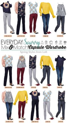 Fun new spring Loft capsule wardrobe with great mix and match outfits. This capsule includes a yellow top, pink denim jacket and fun stripes and floral. Capsule Wardrobe Mom, Mom Wardrobe, Wardrobe Ideas, Outfits Otoño, Spring Outfits, Casual Outfits, Grunge Goth, Mix Match Outfits, Matching Outfits