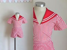 vintage 1940s girl's sailor outfit - MISS SAILOR red & white striped playsuit / 6 by MsTips on Etsy https://www.etsy.com/listing/267682803/vintage-1940s-girls-sailor-outfit-miss
