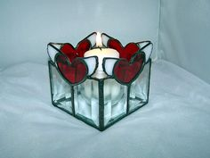 1-31-08 red heart wing votive stained glass candle holder by CreationsInGlass, via Flickr