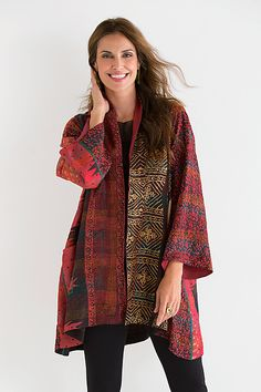A-Line Silk Jacket by Mieko Mintz: Silk Kantha Jacket available at www.artfulhome.com This sumptuous yet lightweight jacket wows with its sophisticated patternwork and hand-stitched details. Fully reversible, with intricate reproduction sari prints on one side, and a hand-dyed red and black ombre design on the other. Sewn in New York from fabric pieced in India using traditional kantha quilting techniques.