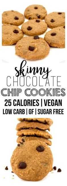 Skinny 25-Calorie Chocolate Chip Cookies (Sugar-Free, Low-Carb, Gluten-Free, Vegan)