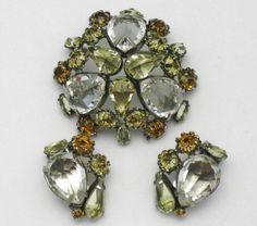 Signed SCHREINER Vintage Jewelry Rhinestone Glass Brooch & Earring Set #Schreiner