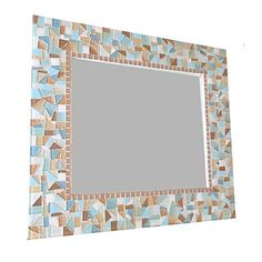 Mosaic Mirror for a Beach House, Rectangular Mosaic Mirror, Green Street Mosaics Mirror Mosaic, Mosaic Wall, Mosaic Glass, Coastal Mirrors, Coastal Decor, Blue And Copper, Mosaic Crafts, Beach House Decor, Home Decor Trends