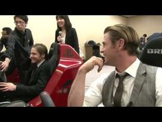 Daniel Brühl and Chris Hemsworth were playing Gran Turismo in Japan. Daniel speaks Japanese!