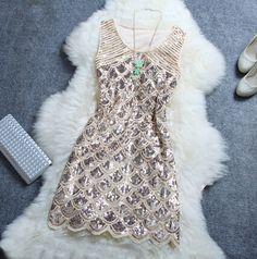 Slim Beaded Sequined Dress