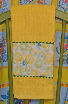 Kitchen Towel with Fabric and Ric Rac