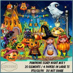 Pumpkins Scary Night Mix 1 (TS/CU/S4H) [CCD] : Scrap and Tubes Store, Digital Scrapbooking Supplies Scrapbook Supplies, Digital Image, Creative Design, Digital Scrapbooking, Scary, Craft Projects, Pumpkins, Night, Paper