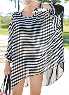 Chiffon Stripe Long Sleeve Above Knee Casual Dresses Beach Dresses, Casual Dresses, Casual Outfits, Fashion Outfits, Chiffon Dresses, Blouse Styles, Blouse Designs, African Swimwear, Mode Kpop