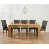 Buy Mark Harris Tampa Oak Large Dining Table and 6 Stefini Grey Chairs online by Mark Harris Furniture from CFS UK at unbeatable price. Oak Extending Dining Table, Solid Oak Dining Table, Oak Table, Extendable Dining Table, Dining Set, Dining Room, Home Decor Furniture, Dining Furniture, Dining Chairs