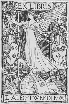 Walter Crane. Design for bookplate for Mrs. Ethel Alec Tweedie. 1896 or earlier.
