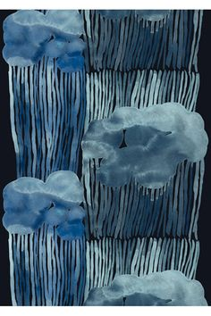 The trendy Jussarö fabric comes from Marimekko and is designed by Aino-Maija Metsola. The fabric has a lovely design with rolling storm clouds in blue colors. Use the fabric as curtains and combine it with other fine products from Marimekko. Design Textile, Art Textile, Art Design, Fabric Design, Pattern Design, Art And Illustration, Textures Patterns, Print Patterns, Azul Indigo