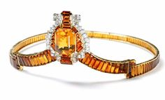 Cartier London Citrine and Diamond Tiara made for the coronation of George VI in 1937. The central element can be dismounted and worn as a brooch. Photo: N. Welsh