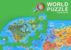 Our World Map Floor Puzzle – 100 Pieces World Map Puzzle, Steam Toys, Good Introduction, Floor Puzzle, North Europe, Steam Activities, Famous Landmarks, Our World, Wooden Diy
