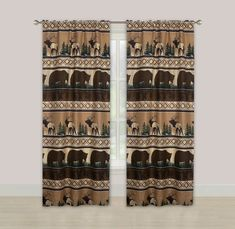 Merchandise Bear Mountain Window Curtains Panel Pair Drapes Rustic Lodge Log Cabin Elk Article P Rustic Pendant Lighting, Rustic Light Fixtures, Black Curtains, Window Curtains, Cabin Curtains, Wood Interior Design, Rustic Design, Modern Lighting Design, Interior Lighting