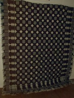 The Gatherings Antique Vintage - Antique 19th Century Winter Summer Hand Woven Coverlet, $350.00 (http://store.the-gatherings-antique-vintage.net/antique-19th-century-winter-summer-hand-woven-coverlet/)