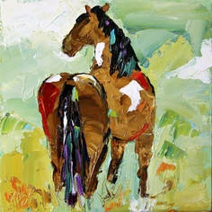 Finally relisted on the correct date! This is summer horse 41 from 100 Horse Paintings in 100 Days for $100 and is available.  From Laurie Pace