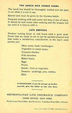 The Lunch Box Goes To Work For Victory | Lane Memorial Library Retro Recipes, Old Recipes, Vintage Recipes, Cookbook Recipes, Vintage Lunch Boxes, Vintage Menu, Vintage Ads, American History Lessons, British History