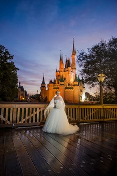 A breathtaking moment for this bride as she strolls through Disney's Magic Kingdom.
