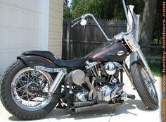 Photo of 1969 FLH Harley Shovelhead Bobber by Mark. Harley Bobber, Bobber Motorcycle, Motorcycle Style, Bobber Chopper, Vintage Bikes, Vintage Motorcycles, Custom Motorcycles, Custom Bikes, Biker Photography