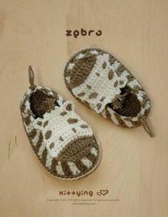Resultado de imagem para zapatitos a crochet cebras