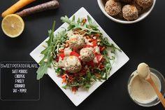 heartybite: Sweet Potato Falafel Salad w/ tahini mint sauce