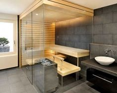 Sauna is an ideal choice to promote health and wellness in our home. We'd love to share 6 home saunas design that can be installed in the ba. Contemporary Saunas, Modern Saunas, Modern Contemporary, Indoor Sauna, Sauna Design, Sauna Room, Spa Rooms, Jacuzzi, Modern House Design