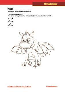 aktivitas kerajinan anak SD, petunjuk/langkah menggambar naga