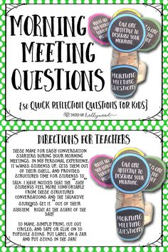(teacherspayteachers.com) Morning Meeting Questions are Fun & Quick Ways to Get Students Talking and Building Relationships!