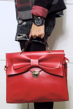 1822683001 Red Bow Leather Handbag Tote Handbags