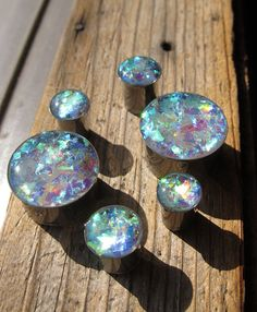 Iridescent Shards Plugs 7/16 1/2 Inch 9/16 5/8 by EvolveDragonfly