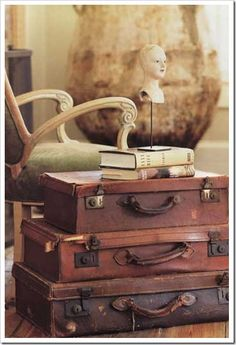 Decorating With Antique Suitcases | Old Fashioned Farmhouse: Decorating with suitcases