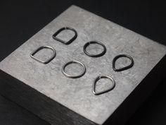 SET of 3 Geometry Septum Rings square circle by SNAKESninjaMETAL