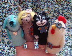 Купить пальчиковый театр Бременские музыканты - комбинированный, игрушка из шерсти, валянная игрушка, театр