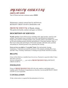 Janitorial Service Agreement By Hgh  Sample Janitorial