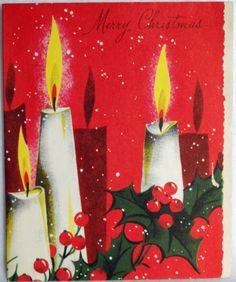 #121 50s Mid Century Modern Candles- Vintage Christmas Greeting Card