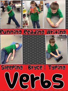 Using Pic Collage to illustrate verbs.  This blog has some great other examples of how to use this app in elementary school and other apps, too.