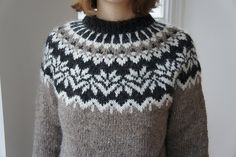 Loved this pattern and love love my new jumper! The charts are so perfect, in colour, large enough to read and with the decreases clearly marked. The explanation is detailed and clear. The actual . Knitting Patterns Free, Knit Patterns, Free Knitting, Icelandic Sweaters, Wool Sweaters, Fair Isle Pattern, Fair Isle Knitting, Knitting Projects, Knitwear