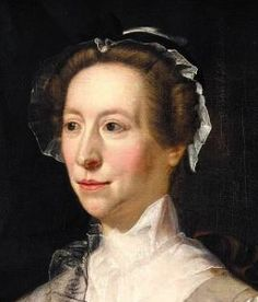 """""""Portrait of an Englishwoman by Henry Pickering showing the simple styles worn in England, 1740s or 1750s."""""""