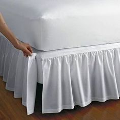 Detachable Gathered Bedskirt - drop at The Company Store - Bed Basics - Bedskirts - TwinDetachable gathered cotton bedskirt with split corners. Attaches with Velcro®. This bedskirt is gathered at the top for an extra-luxurious look. The Company Store, Bed Company, How To Make Bed, My Room, Girl Room, Diy Home Decor, Upholstery, Sweet Home, Bedroom Decor