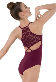 Lace Back Halter Leotard