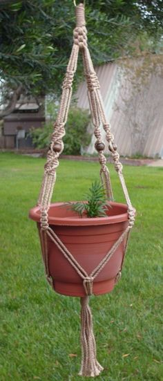 MACRAME Plant Hanger Vintage Style 40inch Sand 7mm with BEADS on Etsy, $13.50