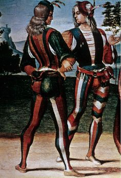 """The Adoration of the Magi""  Late 15th century  codpiece, and parti-colored hose"