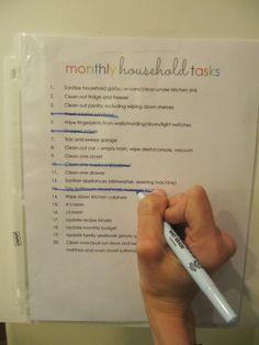 everyday organizing: Monthly Chore Checklist